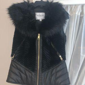 GUESS Black Faux Fur Vest